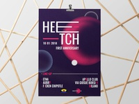 Heetch space-party poster mars moon typography mock-up dj party cosmos planet space print poster