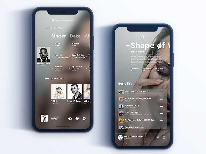 Simple music player simple concept color ios ux ui