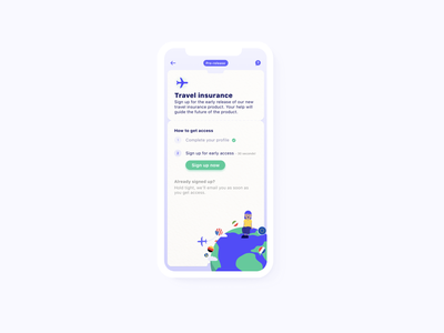 Signing up in app for Travel insurance ✈ typography travel app vector design characters flat illustration skeuomorphism ux ios ui