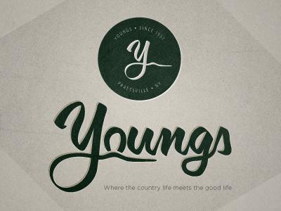 Youngs Logo logo texture green handwritten