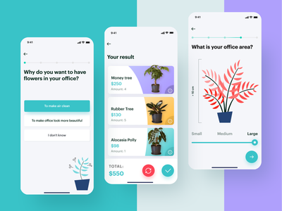 Office plant assistant: plants list and screens sequence plant design yellow wizard violet ux ui slider settings illustration refresh react native plants planning picking flow iphone ios12 interface assistant app