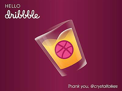 Hello Dribbble Shot Glass thankyou liquor hellodribbble firstshot illustrator