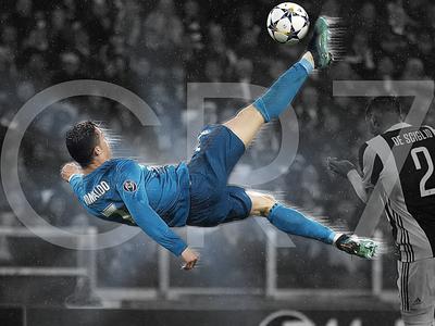 CR7 soccer sports design photo editing photoshop bicycle kick champions league ronaldo real madrid design