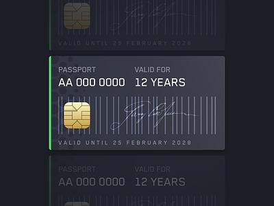 digital passport card ui dark gradient sleek passport digital future