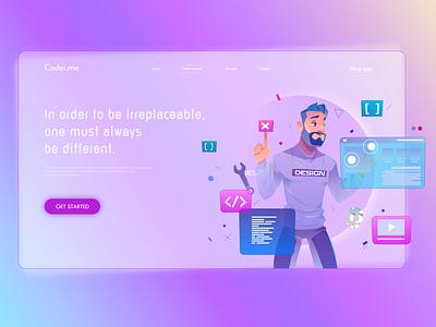 Coder.me Creative Design for Web creative design coder web design designer landingpage ui design design ui