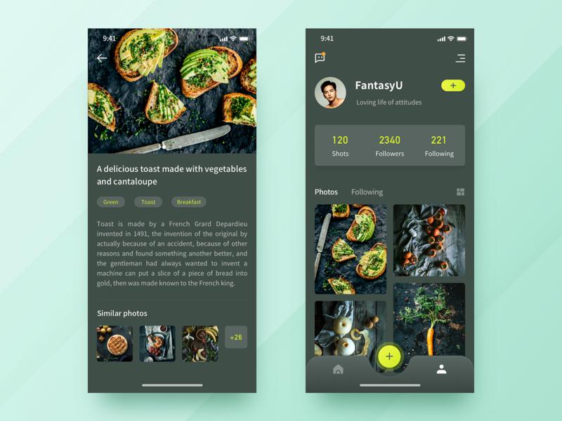 Food interface design icon app ui