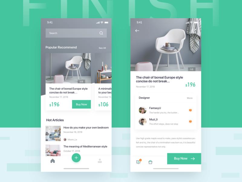Interior finish ux icon ui app design