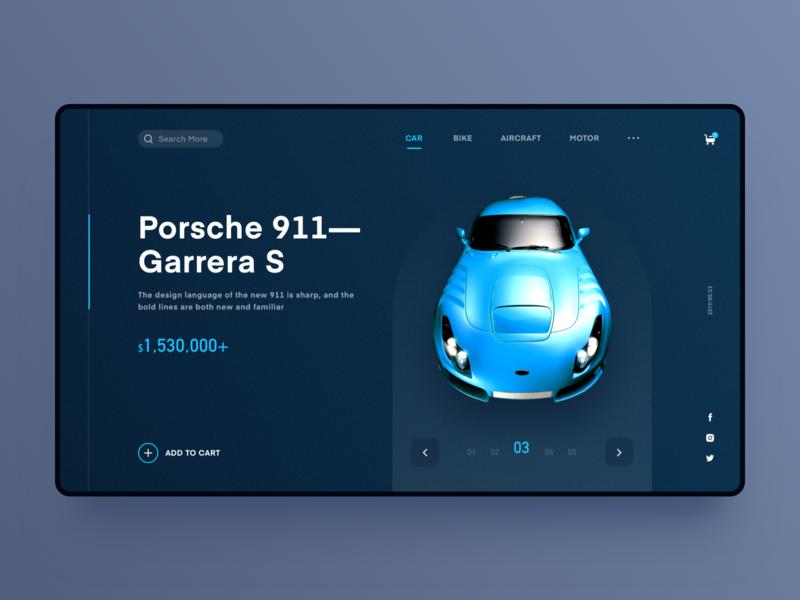 Automobile display interface car web design ui