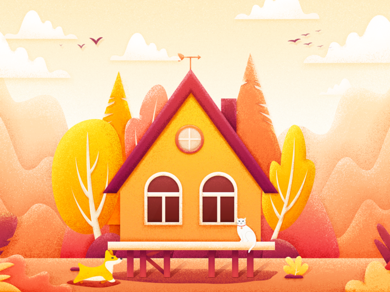 House illustrations design illustration