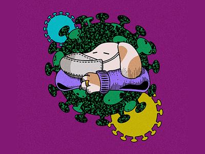 Quarantine mask ipad affinity designer character quarantine illustration vector virus covid19 corona