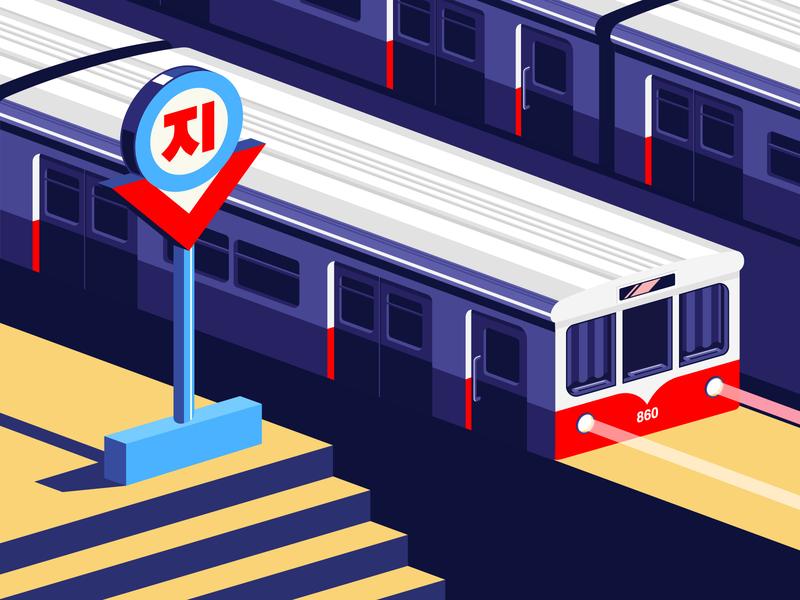 Pyongyang Metro north korea korea subway metro dprk vector illustation