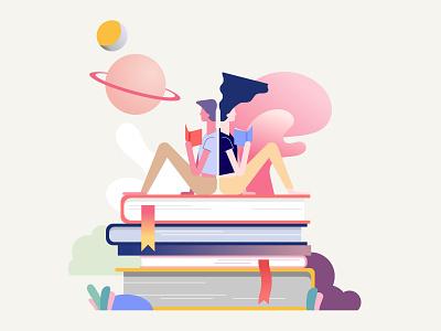 Comfort reading charachters book app bookshop books ui app graphic  design illustation