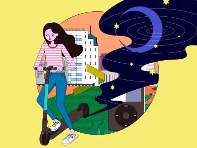 Ride the city illustration riding seoul electric scooter electric