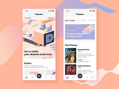 D Square design explore mainpage tap pastel card ui ui design ux movie app theater entertainment social ui illustation