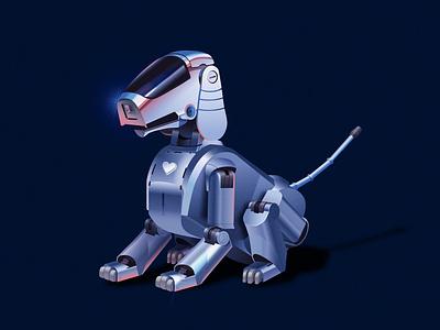 Sony Aibo seoul korea dog pets vector 80s ui digitalart robot dog robotic robot design illustation