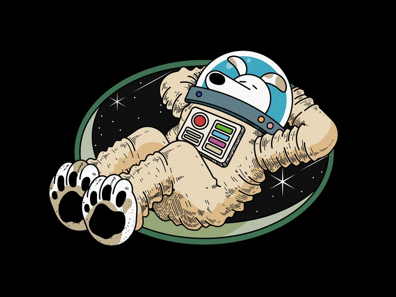 Space dog lying ui character branding vector retro badge 80s spacesuit universe space outerspace design illustation