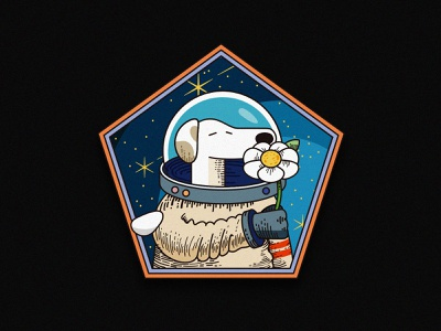 The space dog ui app logo character dog stars universe outerspace space cosmo spacedog 80s design vector illustation