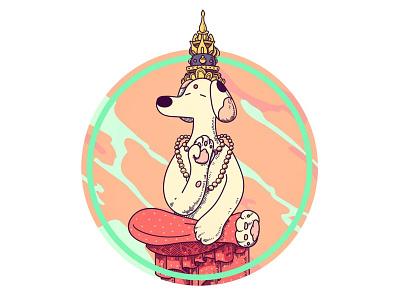Buddha dog at peace buddha buddhism puppy dog logo branding character vector design illustation