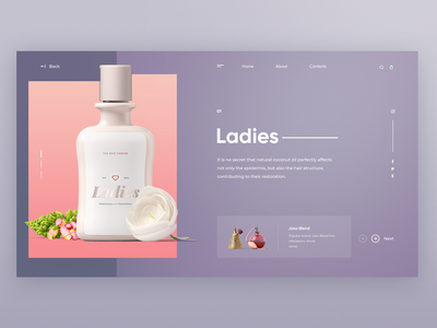 Female cosmetics store concept user interface landing page ux  ui website minimal typography branding web ux design