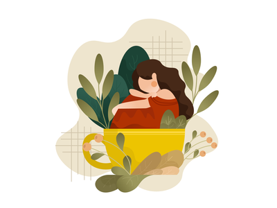 Stay at home stayhome stayathome home girl vector web art illustration