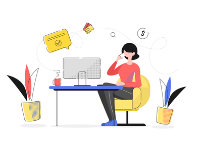 Office work girl work office art illustration