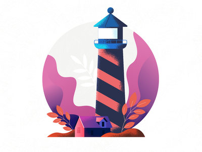 A lighthouse without a light illustration art flat vector lighthouse art illustration