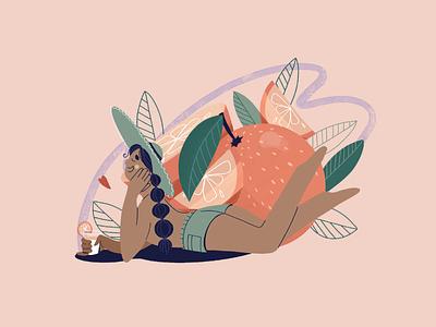 Orange Girl vector illustration art girl illustration art
