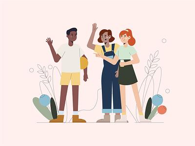 Friends girlfriend boyfriend friend man girl people friends flat vector illustration art illustration art