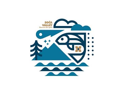 Hometown branding design abstract poster line vector illustrator blue badge type cloud rain fish trees river