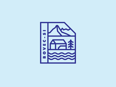 Bovec - SI branding lines illustraion logotype logo badge pin mountains river house home