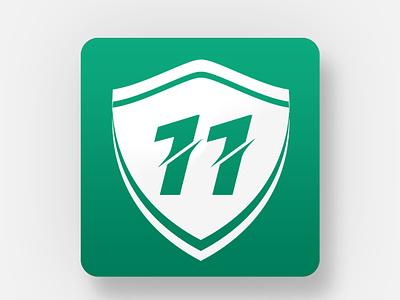 11 Logo cricket fantasy app symbol icon illustration flat symbol icon branding cricket logo worldcup cricket shield symbol shield app shield logo app logo game logo game app game symbol 11 symbol logo number 11