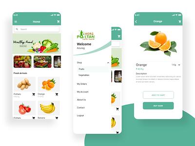Grocery App for E-Commerce ecommerce ui vector app logo illustration icon appuiux ux branding design