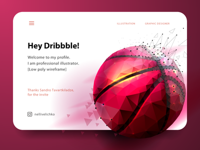 Hey Dribble! ux dribbble pink illustration hey hi hello ball post banner web low poly wireframe