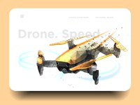 Drone low poly wireframe mesh