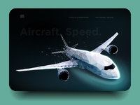 Airliner. Speed. Low poly wireframe mesh
