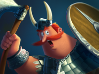Cartoon Viking. Fragment of the process.