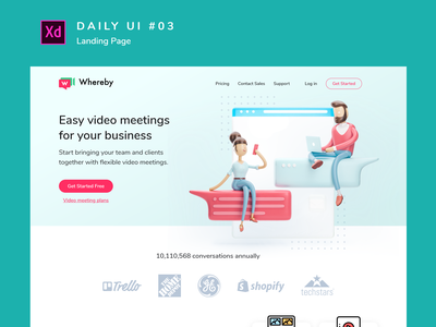 Daily UI challenge #003 desktop adobe xd layout uidesign branding design dailyui ui landingpage