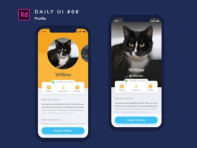 Daily UI challenge #006 app adobe xd uidesign design dailyui ui profile