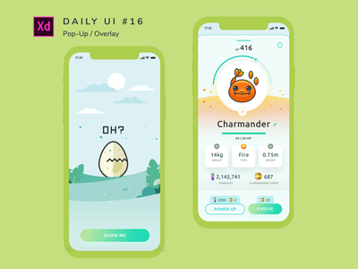 Daily UI challenge #016 pokemongo pokemon branding app uidesign design ui adobe xd dailyui