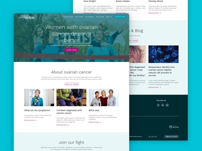 Website Design for Ovarian Cancer Charity web mobile responsive cancer ovarian website design ux ui charity