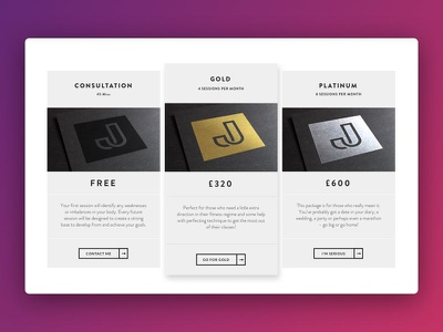 Rate Card for a Personal Trainer website ui design website pt trainer training fitness card comparison price personal trainer rate