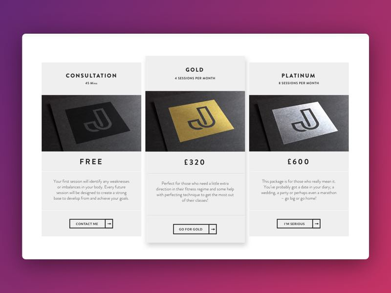 rate card for a personal trainer website by bannahhain dribbble