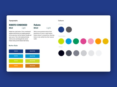 Having some fun with an expanded colour palette ux design roboto colour theory style guide palette colour ui website