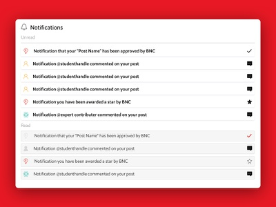 Notifications for a children's website V1 chat success comment user unread read icon design ux ui website notification