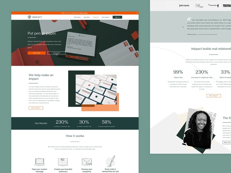 Website design for a startup called Inkpact