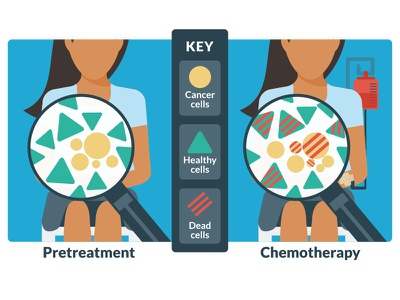 Harmful affects of chemotherapy key compare diagram chemotherapy illustration