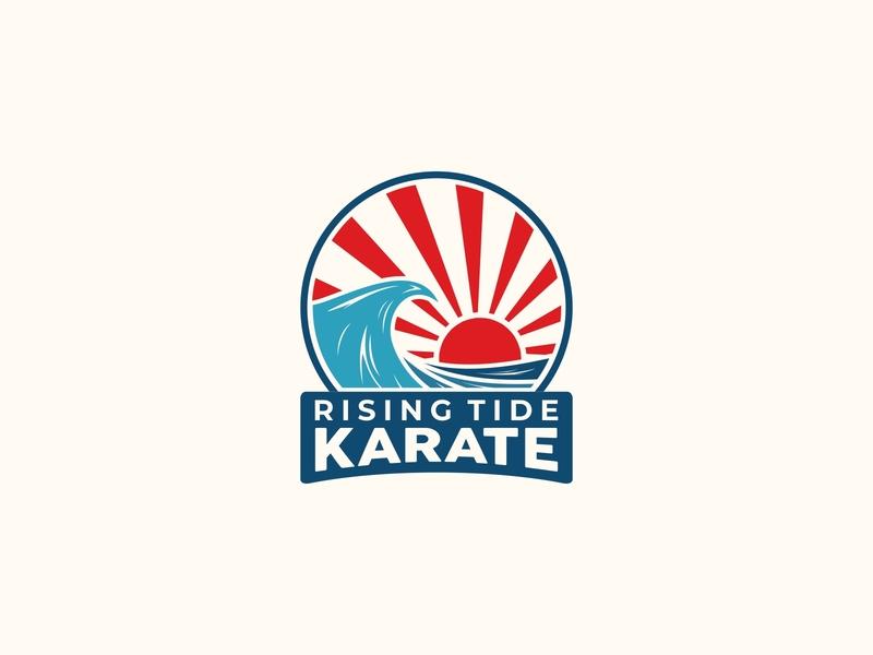 RISING TIDE KARATE LOGO sleek patch design badge logo flat flat design vector logo design branding 99designs
