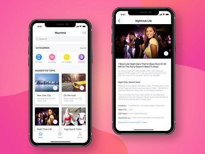 Maxmind design app information uidesign uxd interaction colors animation iphonex ios ui ux newsapp