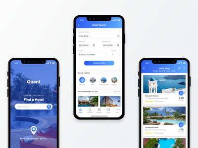 Quant Hotels booking App illustration design traveler app animation holiday trip ux research ui deisgn ios iphonex hotel search ux  ui travel ui destination app booking deign hotel booking app