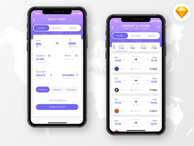 Flight Booking App journey sketch flight search ux ui schedule ticket travel booking app booking mobile app color ios iphone x flight app book ticket holiday ticket booking airline flight booking